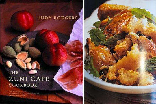 """An image of Zuni Roast Chicken with Bread Salad from the """"Zuni Cafe Cookbook."""""""