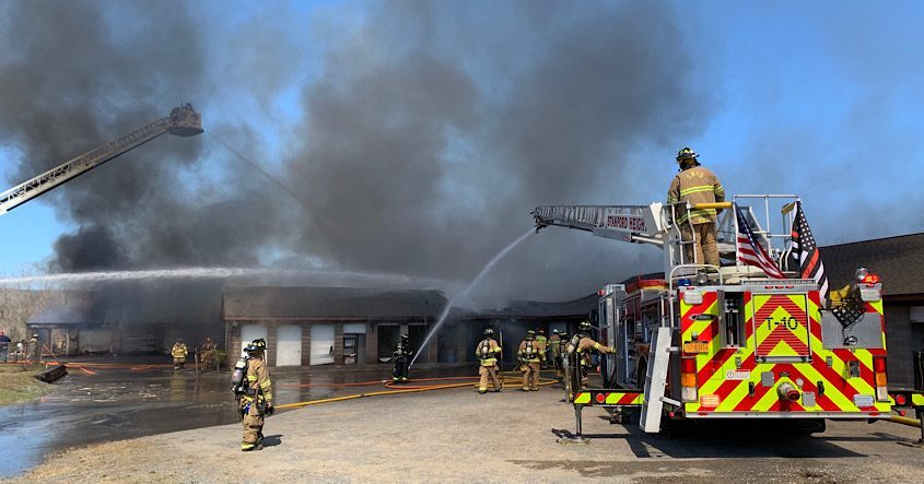 The fire scene Tuesday