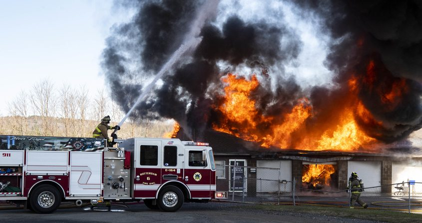 Flames engulf the self storage building Tuesday