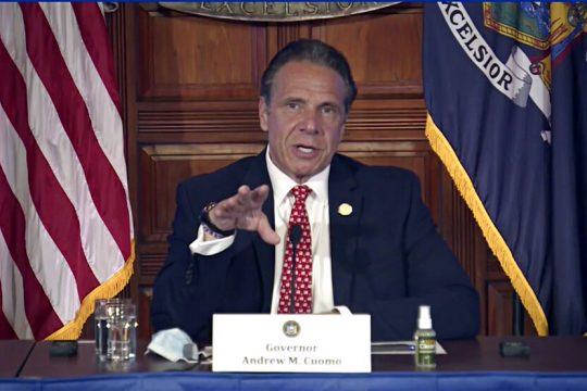 New York Gov. Andrew Cuomo speaks during a news conference about the state budget.