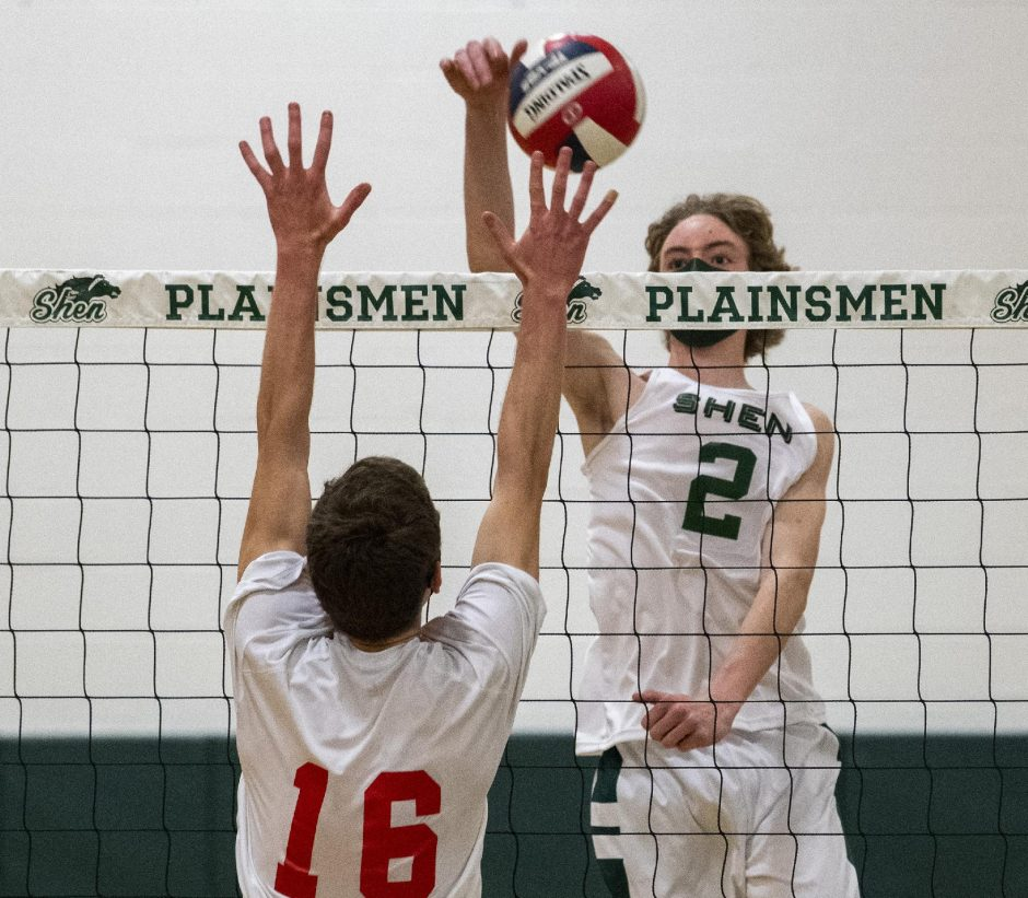 Shenendehowa's Bennett Wilson scores a point against Niskayuna's Josh Cutting during Thursday's Suburban Council boys' volleyball match.