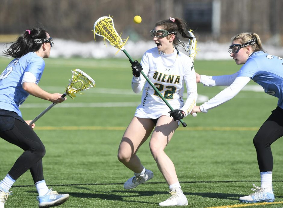 Mary Soures scored seven goes Saturday to lead Siena past Fairfield 15-11.