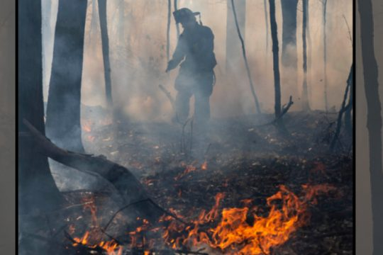 Niskayuna Fire Dist. 1 firefighter Bradley Nethaway uses a portable water tank to extinguish a large brush fire behind the Jewish Community Center Saturday.
