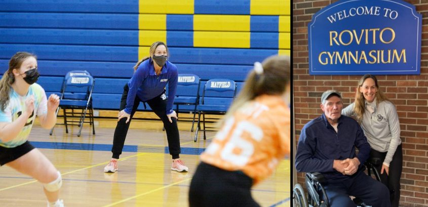 Mayfield girls' volleyball head coach Eileen Rovito, left, conducts practice at the high school gym on Wednesday - Credit: Erica Miller;The gymnasium at Mayfield High School was named in honor of long-time coaches Kevin and Eileen Rovito on March 31. Photo Provided.