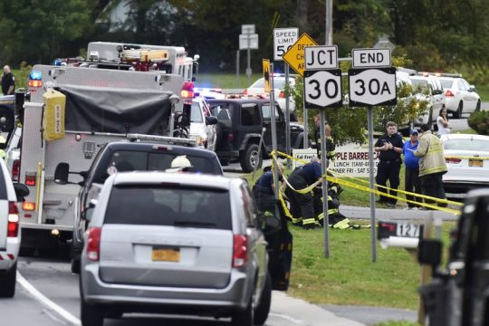 Emergency responders at the scene of the Oct. 6, 2018 Schoharie limo crash.