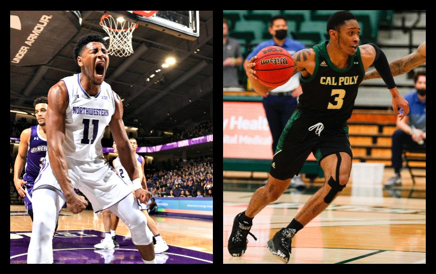 Anthony Gaines, left, and Colby Rogers are joining the Siena men's basketball program. (Photos courtesy Northwestern, Cal Poly Athletics)