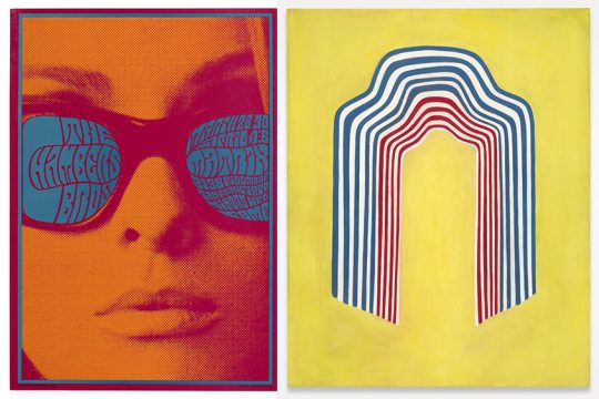 "A pair of images from The Tang's ""All Together Now"" collaboration. Left: Victor Moscoso, The Chambers Bros Concert Poster, 1967, screen print, from Saratoga Performing Arts Center's exhibit, ""Chromatic Scales: Psychedelic Design."" Right: Chuck Webster, ""Summer Bomb Pop,"" 2008, oil on panel, from The Hyde Collection exhibit, ""Summer Bomb Pop: Collections in Dialogue."" (credits: Tang Teaching Museum collection, gifts of Jack Shear, left, and Stefan Simchowitz,)"