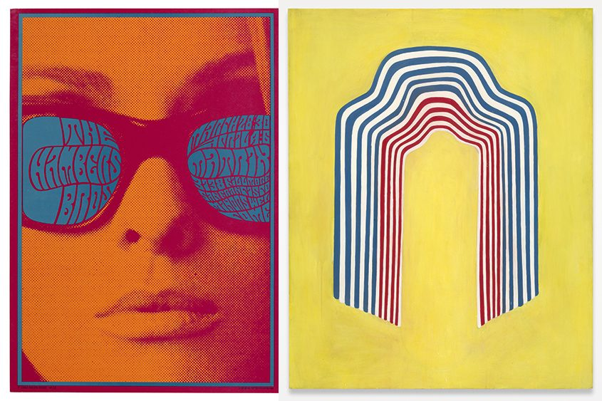 """A pair of images from The Tang's """"All Together Now"""" collaboration. Left: Victor Moscoso, The Chambers Bros Concert Poster, 1967, screen print, from Saratoga Performing Arts Center's exhibit, """"Chromatic Scales: Psychedelic Design."""" Right: Chuck Webster, """"Summer Bomb Pop,"""" 2008, oil on panel, from The Hyde Collection exhibit, """"Summer Bomb Pop: Collections in Dialogue."""" (credits: Tang Teaching Museum collection, gifts of Jack Shear, left, and Stefan Simchowitz,)"""