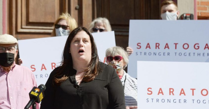 Saratoga Springs Comissioner of Public Safety Robin Dalton speaks outside Canfield Casino in Congress Park in Saratoga Springs on Wednesday. Daltonplans to announce her candidacy for mayor of Saratoga Springs.