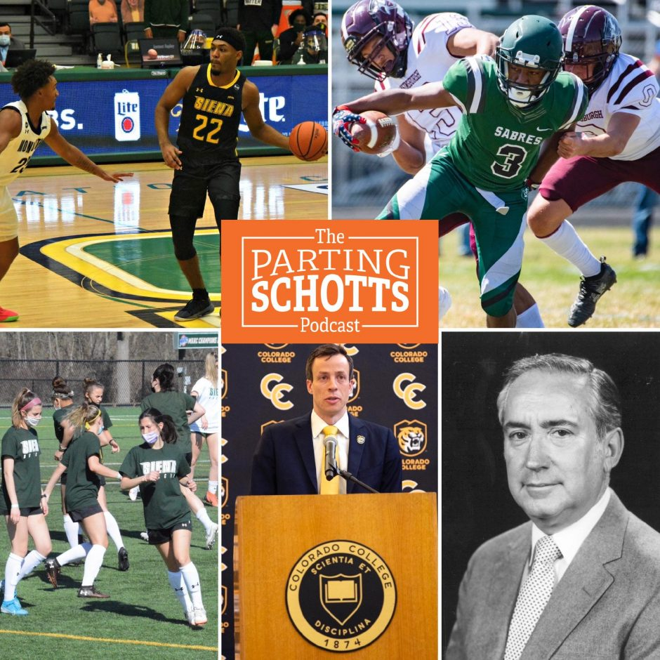 Jalen Pickett's departure from Siena, high school football, Siena women's soccer, former Union hockey goalie Kris Mayotte and the late Ernie Tetrault are the subjects of this week's 'The Parting Schotts Podcast.'