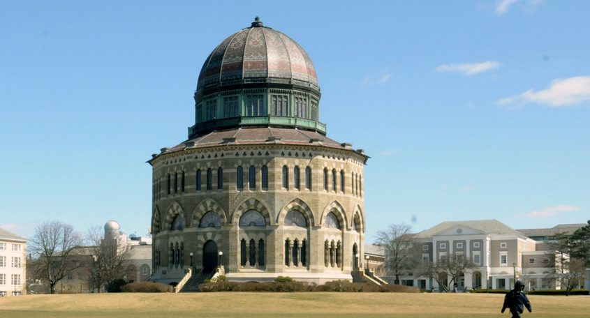 The Nott Memorial in 2013, with Union College's Schaffer Library in the background