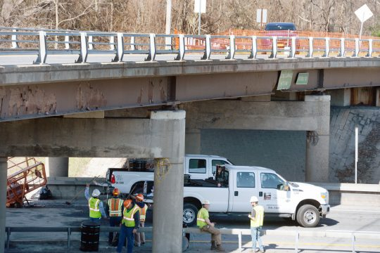 A accident occurred early morning on interstate 87 southbound, after a truck towing a trailer with a boom lift stuck the Sitterly overpass near exit 9 in Clifton Park on Wednesday, April 14.