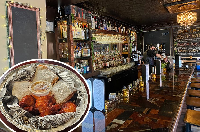 The bar area at the Front Street Social Club in Ballston Spa. Inset: Chicken and beignets, the restaurant's take on chicken and waffles, served with maple butter dipping sauce.