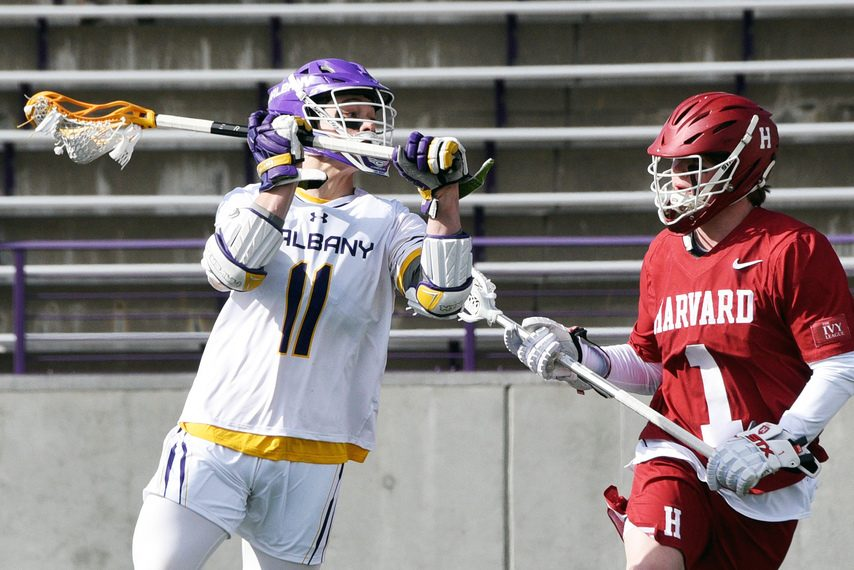 UAlbany's Corey Yunker looks for a shot against Harvard during a game at Casey Stadium on Feb. 29, 2020.