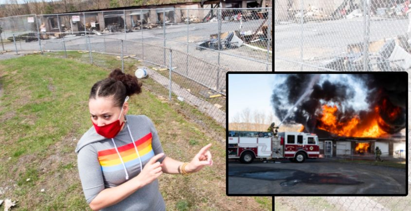 Left: Erica Murrell of Guilderlandstands outside the Prime Storage complex at 103 Old Mill Lane in Rotterdam last week. Inset: The scene April 6