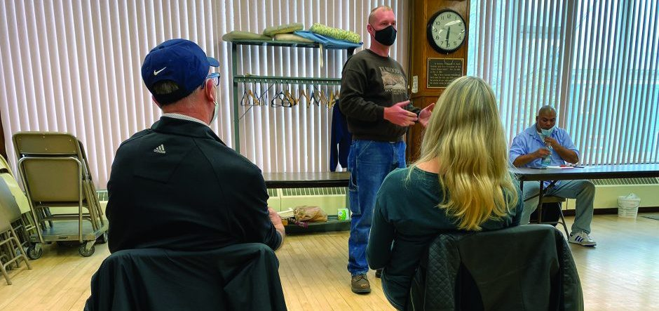 Thomas Elwood, commander of Mohawk Valley VFW Post 3275 in Fort Plain, outlines the goals of Mountains To Miracles Veterans Foundation during a meeting of the St. Johnsville Neighborhood Watch on Saturday.