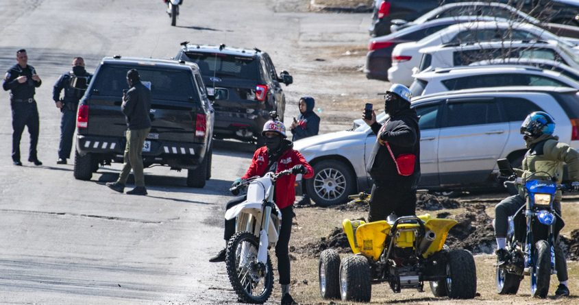 Schenectady police officers respond to dirt bike and ATV riders on Fehr Avenue, near State Street, in March