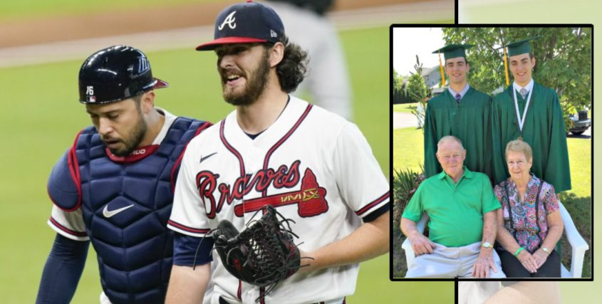 Atlanta Braves' Ian Anderson, right, an catcher Travis d'Arnaud Oct. 7 (ERIC GAY/ASSOCIATED PRESS); Inset: Twin brothers, Ben (left) and Ian Anderson stand behind their grandparents, Bob Sr. and Beverly after their 2016 graduation from Shenendehowa High School. (Provided)