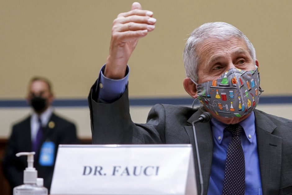 Dr. Anthony Fauci, director of the National Institute of Allergy and Infectious Diseases, speaks during a House Select Subcommittee hearing on Capitol Hill in Washington April 15, 2021. (Amr Alfiky/The New York Times via AP, Pool)