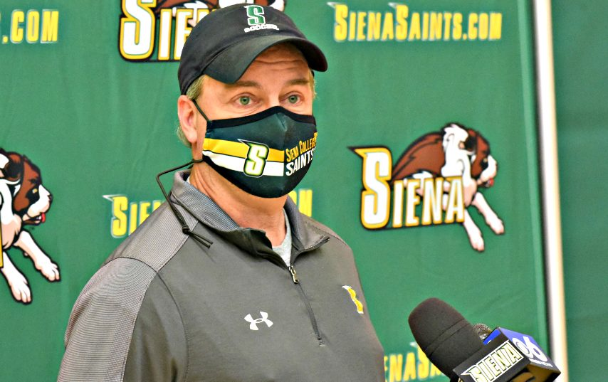 Siena head coach Steve Karbowski is shown Monday at UHY Center. (Stan Hudy)