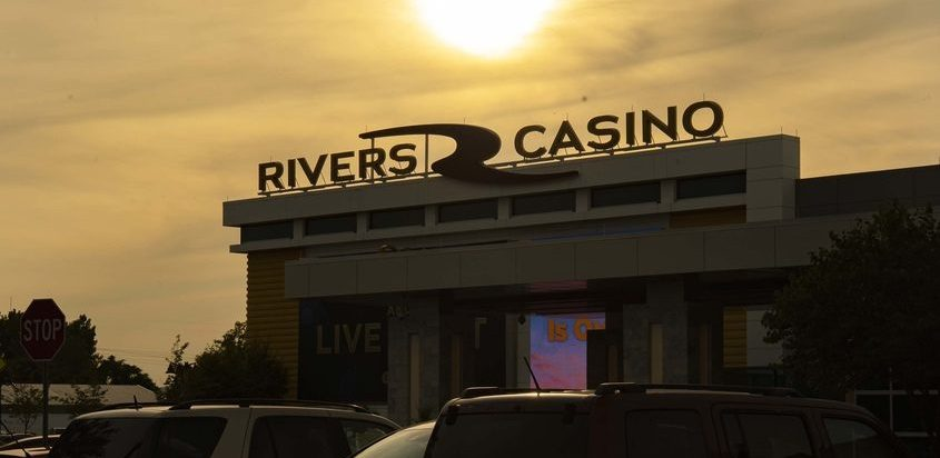 The sun begins to set behind Rivers Casino inthis file photo.