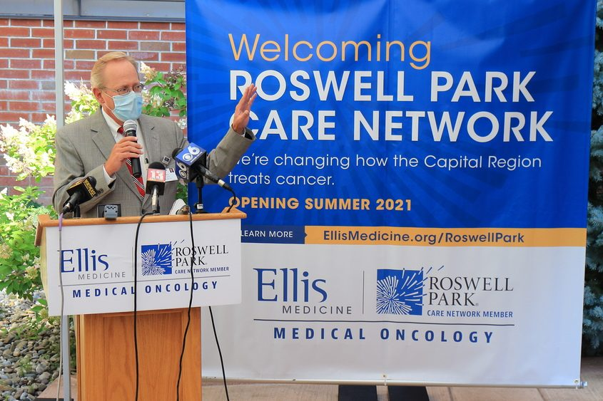 JOHN CROPLEY/BUSINESS EDITOREllis Medicine President and CEO Paul Milton announces an affiliation between Ellis and Roswell Park Comprehensive Cancer Center on Aug. 11, 2020