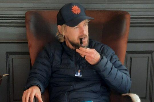 The film's star, Owen Wilson, stopped in to James and Sons Tobacconists on Broadway in downtown Saratoga Springs on Tuesday to learn how to smoke a pipe for the movie he's filming in town.CREDIT: James and Sons Tobacconists