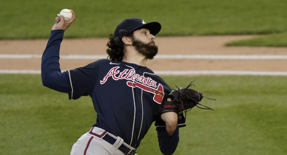 Atlanta Braves hurler and Shen grad Ian Anderson throws during the first inning Wednesday. (Kathy Willens/The Associated Press)