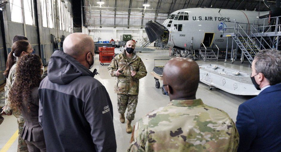 Air National Guard Maj. Jim Roth speaks to educators from local school districts as they tour the 109th Airlift Wing of the New York Air National Guard in Glenville on Wednesday.