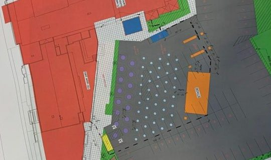 A diagram shows the location of the stage and tables for the outdoor concert series at Frog Alley Brewing in Schenectady.
