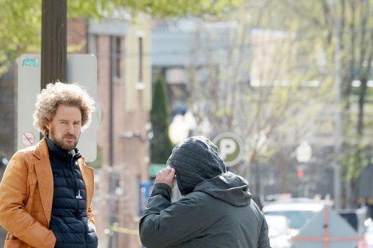 Owen Wilson on the set in Saratoga Springs Thursday.