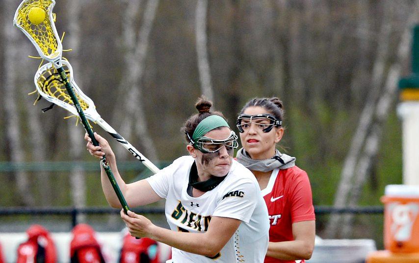 Siena's Nicole McNeely is shown in a game earlier this week.