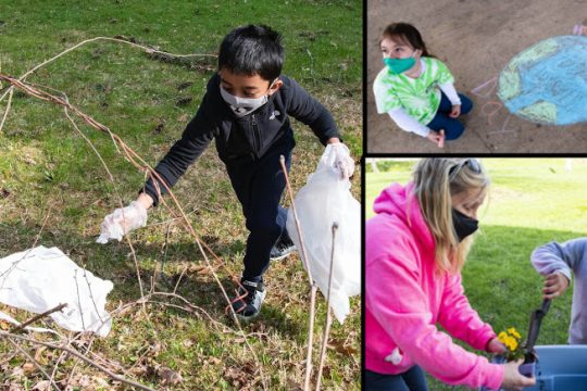 Left: Johnny Paul, 8, of Niskayuna, picks up trash. Upper right: Allison Rowe, 8, of Niskayuna, with an Earth Day drawing she did. Lower right: Second-grade teacher Beth Montrello helps Hannah Nohwar, 8, with a pansy she will take home.