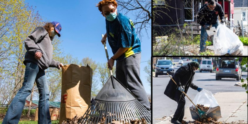 Left: Michelle Cooke, left, and her son Christian Cooke, 22, of Rotterdam, rake up and bag leaves in Kiwanis Park in Rotterdam Junction. Top Right: Schenectady firefighter Marc Karl cleans up at Georgetta Dix Plaza and Hamilton Street in Schenectady; Bottom Right: Molain Gilmore, of Emmett Street, cleans on Georgetta Dix Plaza