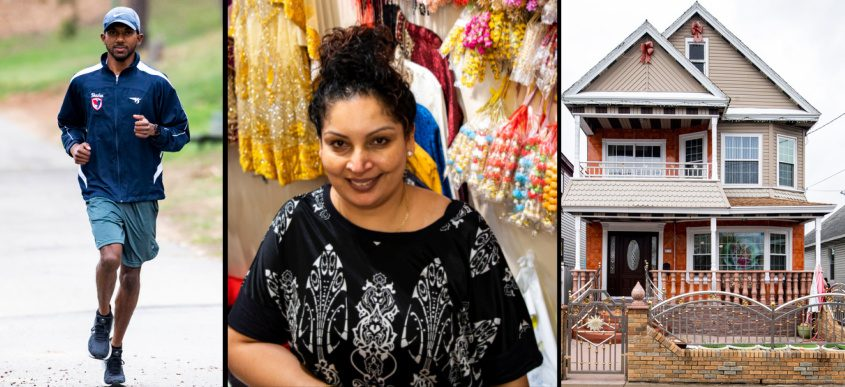 Left: Shazim Permaul runs along Iroquois Lake; Center:Shreya's Exclusive owner Shelly Singh in her Crane Street store; Right: A Guyanese home in Schenectady