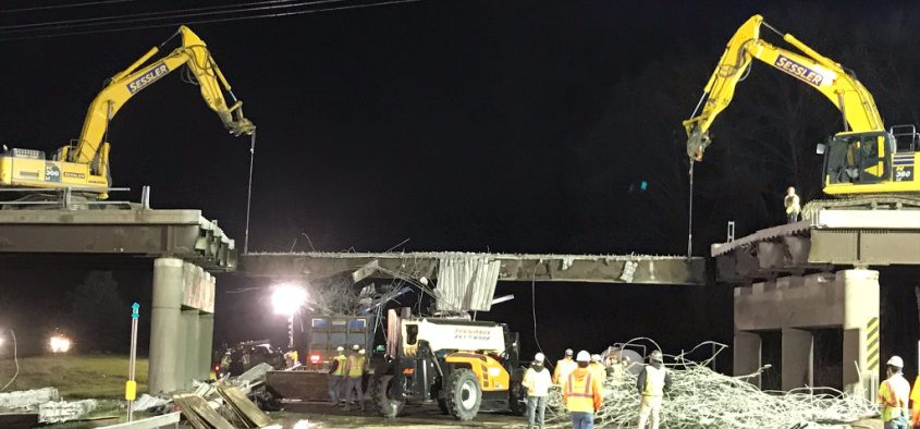 Crews work on removing the Sitterly Road bridge over the Northway - Credit: New York State Department of Transportation
