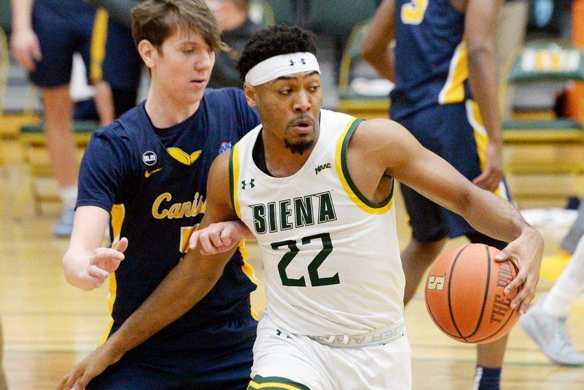 Former Siena men's basketball star Jalen Pickett (22) is transferring to Penn State.