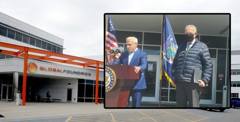 GlobalFoundries CEO Tom Caulfield and U.S. Sen. Charles Schumer Monday (inset, Stephen Williams);The GlobalFoundriescampus in 2018 (background, file)