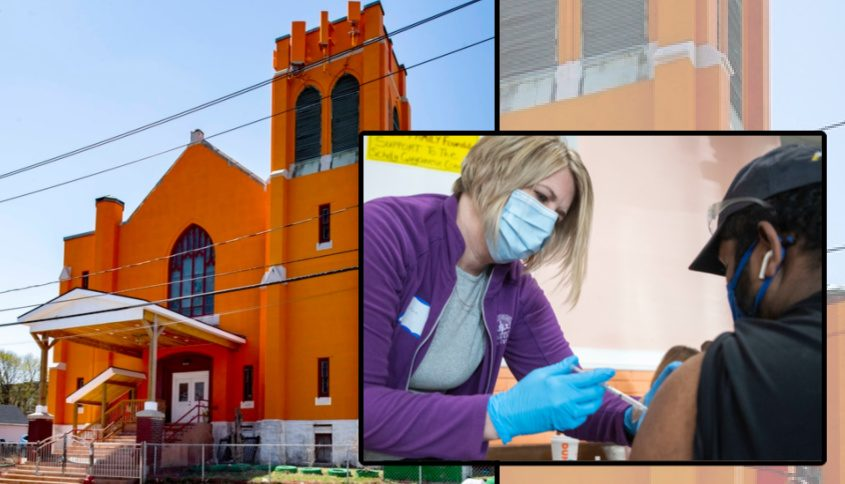 Left: The Schenectady Hindu Temple. Right: Justine Feder-Lailer administers the COVID-19 vaccine to Brandon Mandalal of Schenectady at the Guyanese Community Center at the temple last month.