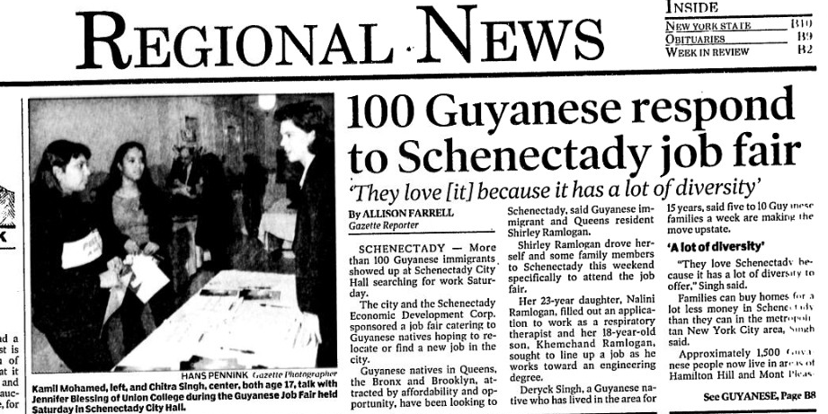 An early Gazette story from Dec. 9, 2001, on Guyanese settling in Schenectady