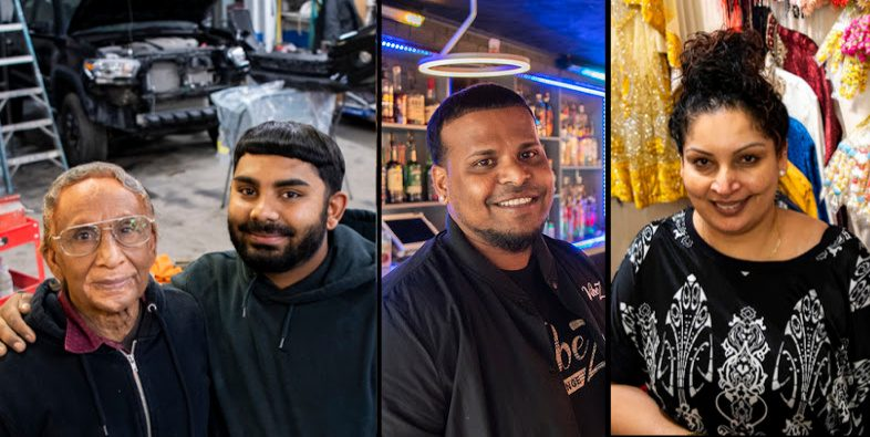 Left: Ronnie Dhanessur and his grandson Ravhi pose at Ronnie and Sons Autobody; Center: Nishal Mohabeer at his Vibez Bar & Lounge; Right:Shreya's Exclusive owner Shelly Singh