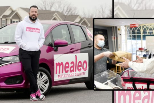 """Left: Mealeo owner Blake Hanan stands outside one of his delivery cars; Right: Mealeo """"superhero"""" A.J. Mahar takes a delivery from Genoa Importing Co.'s deli """"superhero"""" clerk Jason Sowek in Loudonville"""