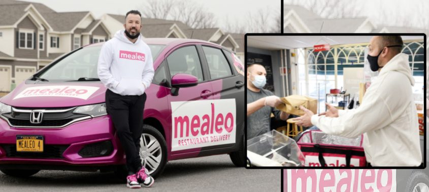 "Left: Mealeo owner Blake Hanan stands outside one of his delivery cars; Right: Mealeo ""superhero"" A.J. Mahar takes a delivery from Genoa Importing Co.'s deli ""superhero"" clerk Jason Sowek in Loudonville"