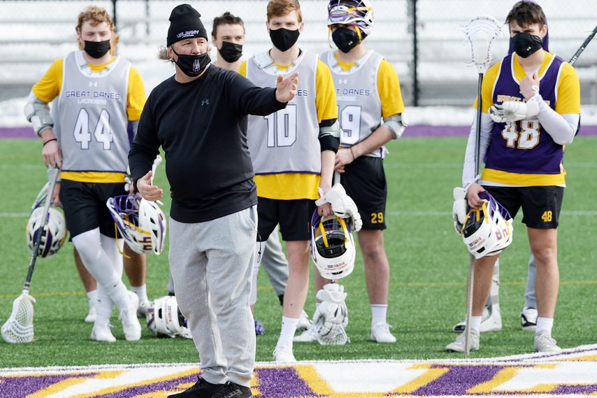 ERICA MILLER/THE DAILY GAZETTE Head coach Scott Marr's UAlbany men's lacrosse team finished the regular season with a 16-14 loss at Vermont on Wednesday.