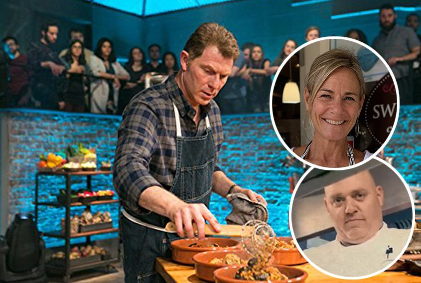 """Bobby Flay in """"Beat Bobby Flay"""" (Food Network/Tribune News Service). Inset:Chefs Jeannette Liebers and Chris Bonnivier. (provided/YouTube)"""