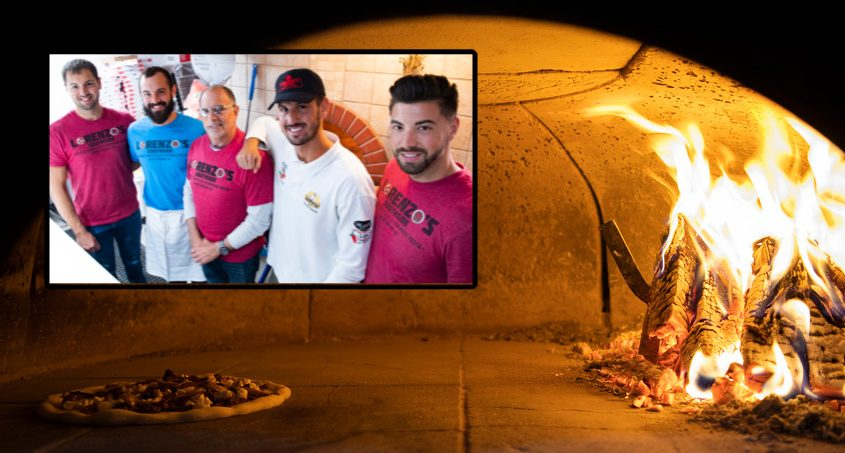 A pizza only takes 90 seconds to cool in the brick oven at Lorenzo's Southside on Port Jackson Square in Amsterdam. Inset: Giacamo, left, Guiseppi, Joseph, Gaetano, and Antonio Lanzi at Lorenzo's Southside on Port Jackson Square in Amsterdam