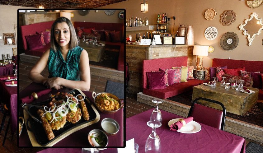 Curry Patta owner by Nadia Raza and the interior of her restaurant on Main Street in Altamont