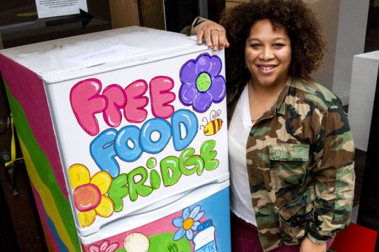 Jamella Anderson with her Free Food Fridge at 488 Broadway in Albany