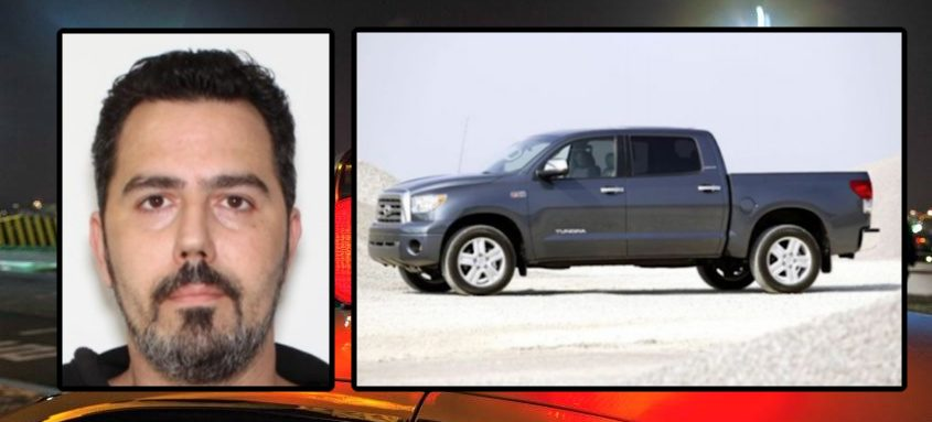 Robert A. Sanders, 48, of Lakewood, N.J., and an image of a pickup truck similar to the one he was driving - Saratoga County Sheriff's Office