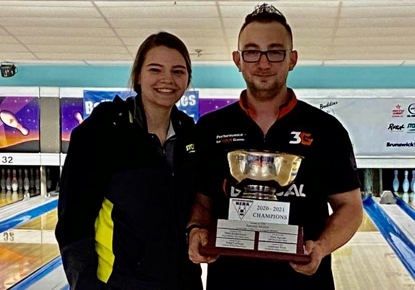 Matt Fazzone, standing next to fiancé Natasha Bidwell, won his second New England Bowling Association title Sunday.